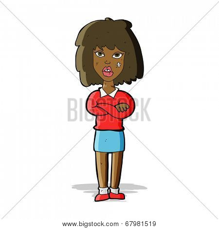 cartoon tough woman with folded arms