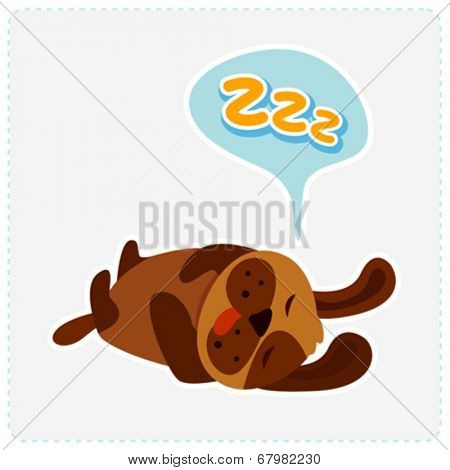 cute cartoon dog is sleeping - vector illustration