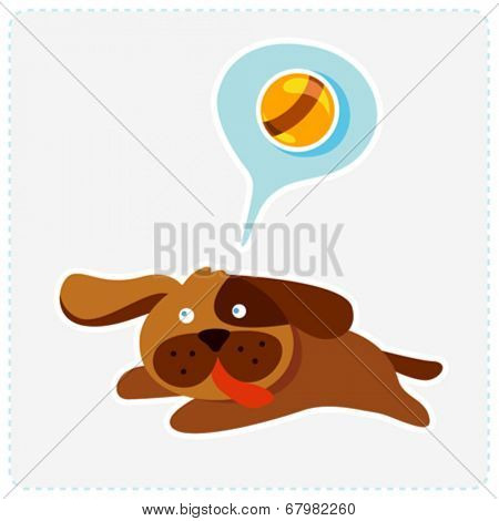cute cartoon dog is running and playing - vector illustration