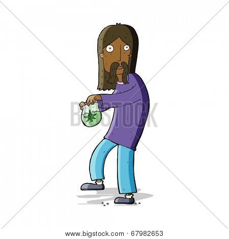 cartoon hippie man with bag of weed