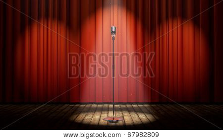 3d stage with red curtain and vintage microphone in spot light, with magical particles