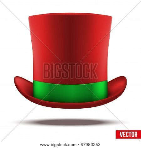 Red hat cylinder with green ribbon.