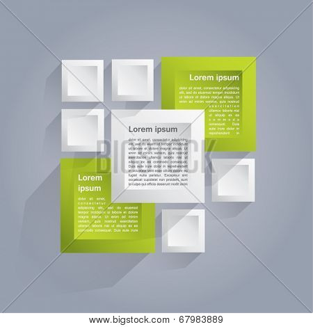 Infographics vector background with white and green cubes
