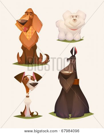 Dog characters. Cartoon vector illustration.