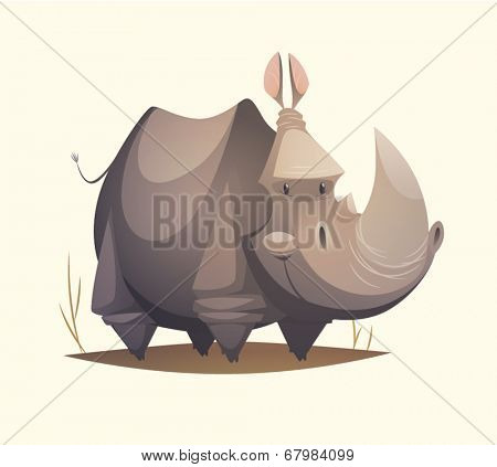 Rhino character. Cartoon vector illustration.