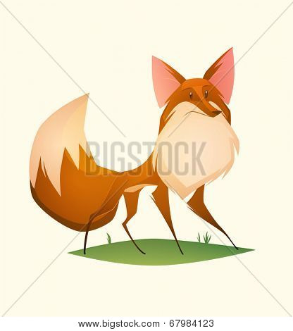 Fox character. Cartoon vector illustration.