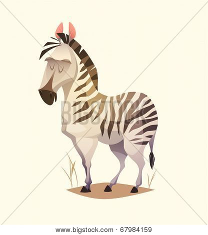 Zebra character. Cartoon vector illustration.