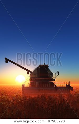 Machines for harvesting on a background blue sky