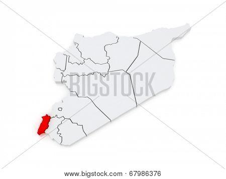 Map of Quneitra. Syria. 3d