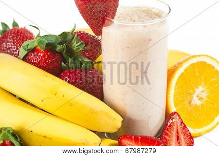 healthy strawberry smoothie with fruits
