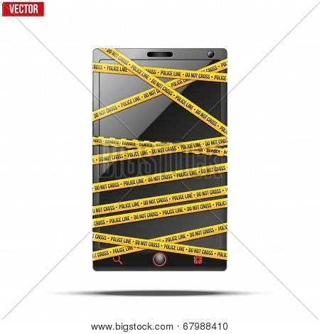 Smartphone, mobile phone warning tape wrapped. vector illustration.