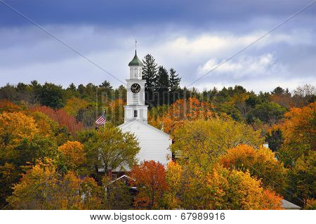 Church Surrounded By Autumn Colors