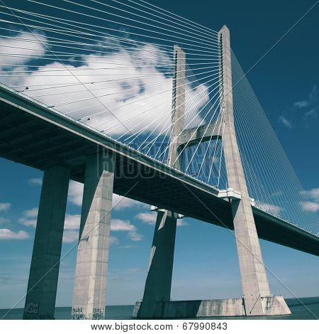 The Vasco da Gama Bridge with filter effect.