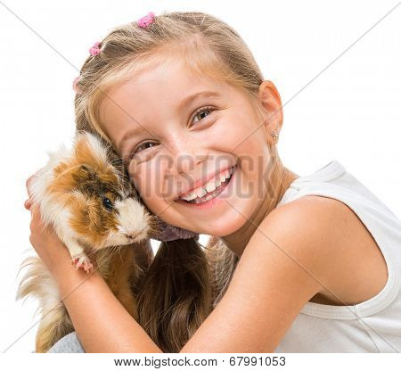 happy  girl with a cavy. studio shot  on white background