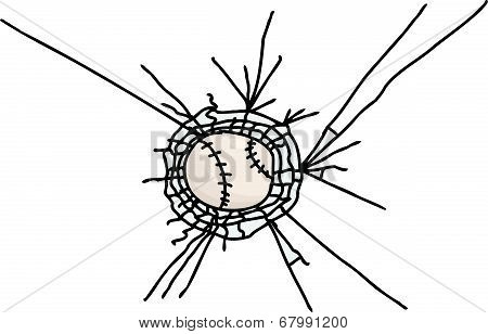 Isolated Baseball Stuck In Glass