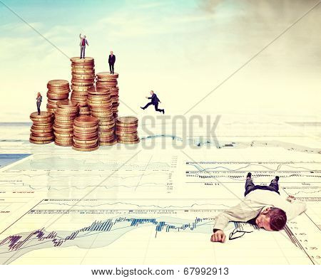 business people on 3d abstract finace background with euro coins