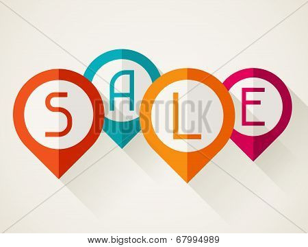 Sale poster with location markers in flat design style.