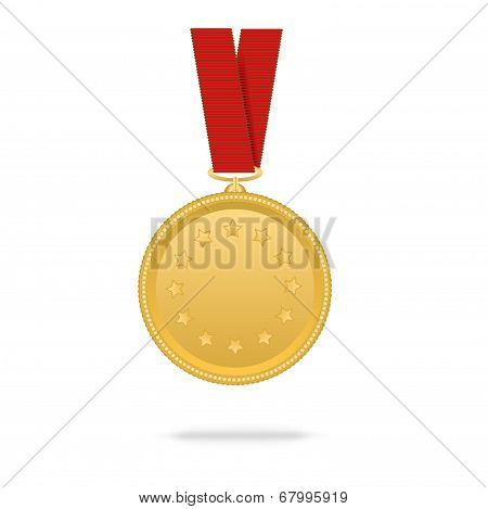 Vector Gold Medal On Red Tape