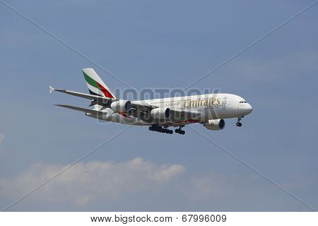 Emirates Airline Airbus A380 in New York sky before landing at JFK Airport
