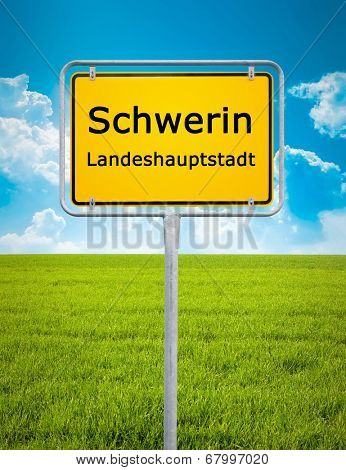 An image of the city sign of Schwerin
