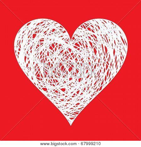 white hand drawn heart