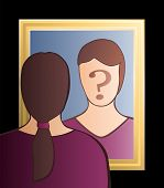 stock photo of cognitive  - A woman is looking into the mirror asking herself  - JPG