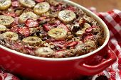 picture of pecan nut  - Strawberry Banana Oatmeal with chocolate and pecan nuts - JPG