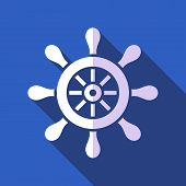 foto of rudder  - White vector rudder on blue background flat design - JPG