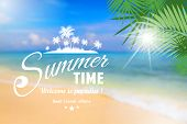 foto of sunny beach  - Summer seaside view poster with type on defocused beach background - JPG