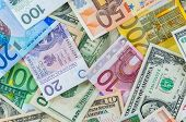 stock photo of zloty  - Background made of dollar euro and polish zloty banknotes - JPG