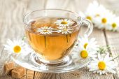 picture of chamomile  - Herbal chamomile tea in a glass cup and flowers