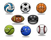 foto of volleyball  - Set of cartoon sports balls equipment with a volleyball basketball soccer or football rugby ball hockey puck tennis ball - JPG