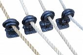 foto of pulley  - the wooden sailboat pulleys and ropes detail - JPG