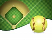 picture of softball  - An illustration of a softball and softball field - JPG
