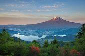 stock photo of mount fuji  - Mt Fuji and lake kawaguchiko in summer season - JPG