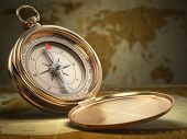 stock photo of longitude  - Compass on world map background - JPG