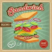 foto of tomato sandwich  - Salami sandwich ingredients poster with bread onion cucumber tomato cheese lettuce vector illustration - JPG