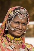 foto of rajasthani  - Portrait of a India Rajasthani woman closeup - JPG