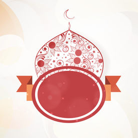 image of ramazan mubarak  - Stylish floral decorated mosque and maroon badge on abstract background for muslim community festival Eid Mubarak celebrations - JPG