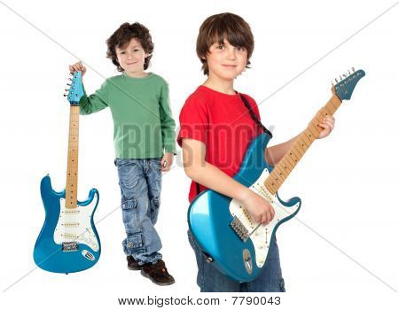 Two Children With Electric Guitar
