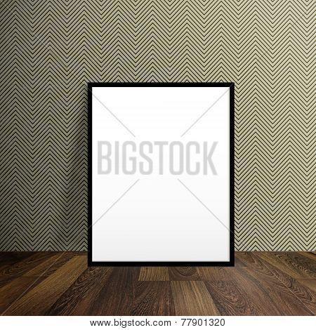 Blank Poster Stand On A Wooden Floor Over Modern Wallpaper With Zigzag Pattern