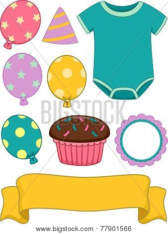 Illustration of Different Items Commonly Associated With Birthdays