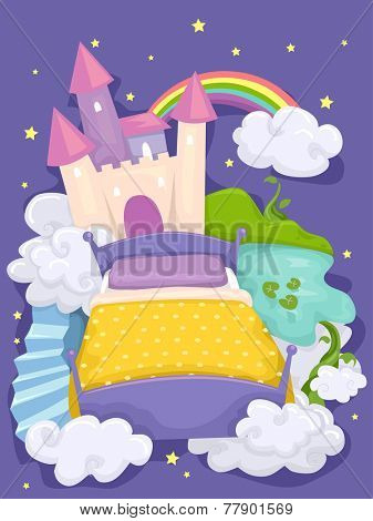 Illustration of a Bed with a Castle and a Mysterious Forest in the Background