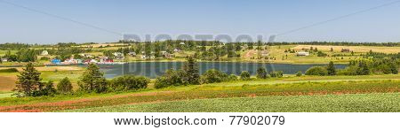 Panoramic landscape view of bay near Cavendish, Prince Edward Island, Canada