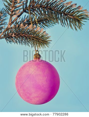 Pink New Year's ball. New Year's still life