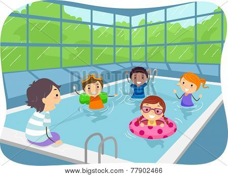 Illustration of Kids Swimming in an Indoor Swimming Pool