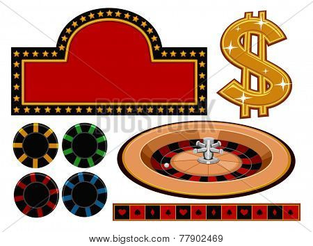 Illustration of Different Items Usually Associated With Casinos
