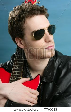 Sexy Rock Man Sunglasses Leather  Jacket