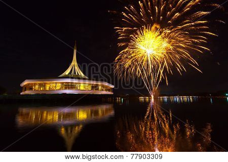 Fireworks On The Black Sky Background At Suanluang Rama Ix  Thailand