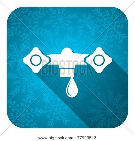 water flat icon, christmas button, hydraulics sign